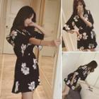 Elbow-sleeve Floral Chiffon Dress