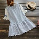 Bell-sleeve Pinstripe Panel Crochet Blouse