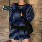 Long-sleeve Striped Knit Top / Shorts