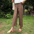 Wrap-front Linen Blend Wide-leg Pants