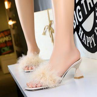 Fringed Trim Block Heel Slide Sandals
