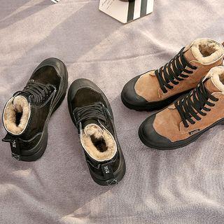 Fleece-lined Platform High-top Sneakers