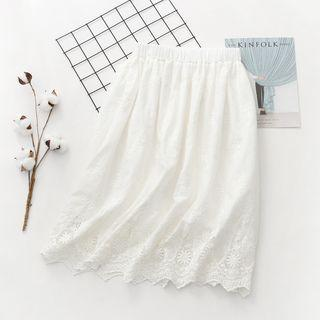 Perforated Floral A-line Midi Skirt White - One Size