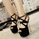 Hollow Out Platform Stiletto Heel Sandals