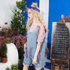 Fray-trim Distressed Pocket-accent Jumper Dress