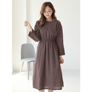 Long-sleeve Tie-waist Plaid Dress