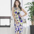 Sleeveless Patterned Bodycon Dress