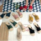 Cross Strap Linen Sandals