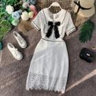 Bow-detail Eyelet-lace Short-sleeve Dress
