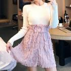 Elasticized-waist Textured Miniskirt