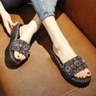 Rhinestone Accent Slide Platform Sandals