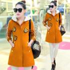 Bear Applique Hooded Long Jacket