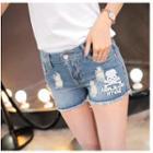 Print Distressed High-waist Denim Shorts
