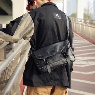 Buckled Strap Messenger Bag Camouflage - Black - One Size