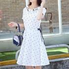 Triangle Print Collared Short Sleeve Dress
