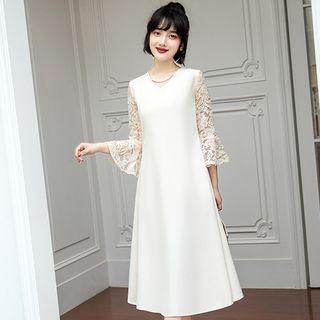 V-neck Lace Bell-sleeve Midi A-line Dress