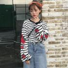 Rose Embroidered Striped Pullover