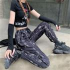 Printed Drawstring Harem Pants Black - One Size