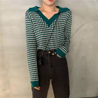 Patterned V-neck Sweater Knit Top - Green - One Size