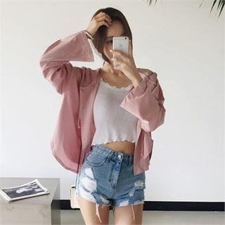 Drop-shoulder Hooded Cardigan