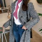Herringbone Wool Blend Maxi Coat