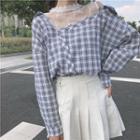 Lace Panel Plaid Mock Two-piece Shirt