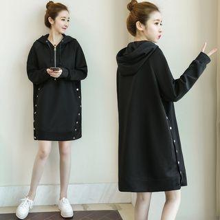 Button-detail Mini Hoodie Dress