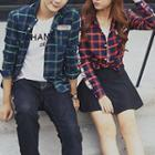 Couple Matching Lettering Plaid Shirt