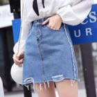 High-waist Rip Denim Shorts