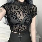 Lace Trim Short-sleeve Mesh Cropped Top