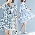 Elbow-sleeve Cat Print A-line Mini Dress