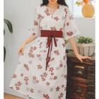 Elbow-sleeve Flower Printed Chiffon Dress