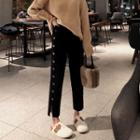 Straight-cut Buttoned Knit Pants