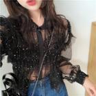 Loose-fit Glitter Sheer Shirt