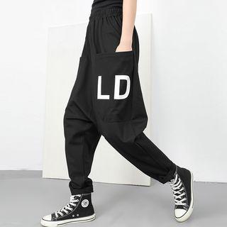 Letter Harem Pants Black - One Size