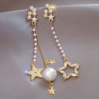 Rhinestone Faux Pearl Earring 1 Pair - S925 Silver Needle - As Shown In Figure - One Size