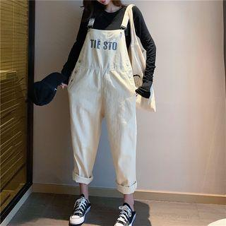 Lettering Denim Jumper Pants As Shown In Figure - One Size