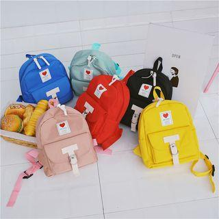 Canvas T-strap Heart Badge Backpack