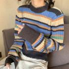 Striped Distressed Sweater As Shown In Figure - One Size