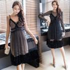Set: Strappy Mesh Dress + Long-sleeve Sheath Mini Dress