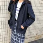 Long Sleeve Plain Hooded Jacket