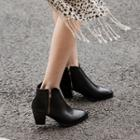 Chunky Heel Zip Up Ankle Boots