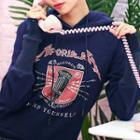 Print Long-sleeve Color Panel Hooded Pullover