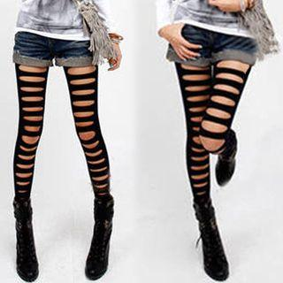 Ripped Leggings Black - One Size