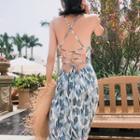 Printed Open Back Maxi Spaghetti Strap Dress
