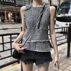 Tweed Sleeveless Top Milky White - One Size