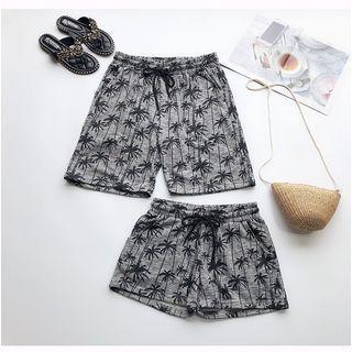 Couple Matching Palm Tree Print Shorts
