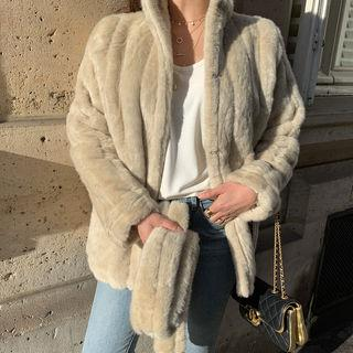 Ribbed Faux-fur Jacket & Scarf