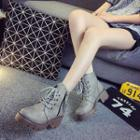 Block Heel Lace Up Short Boots