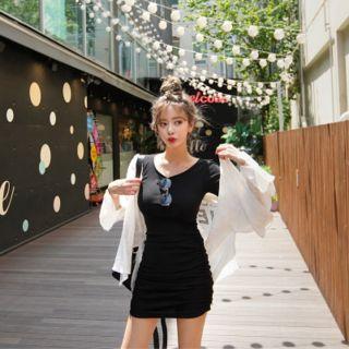 Shirred-hem Mini Bodycon Dress